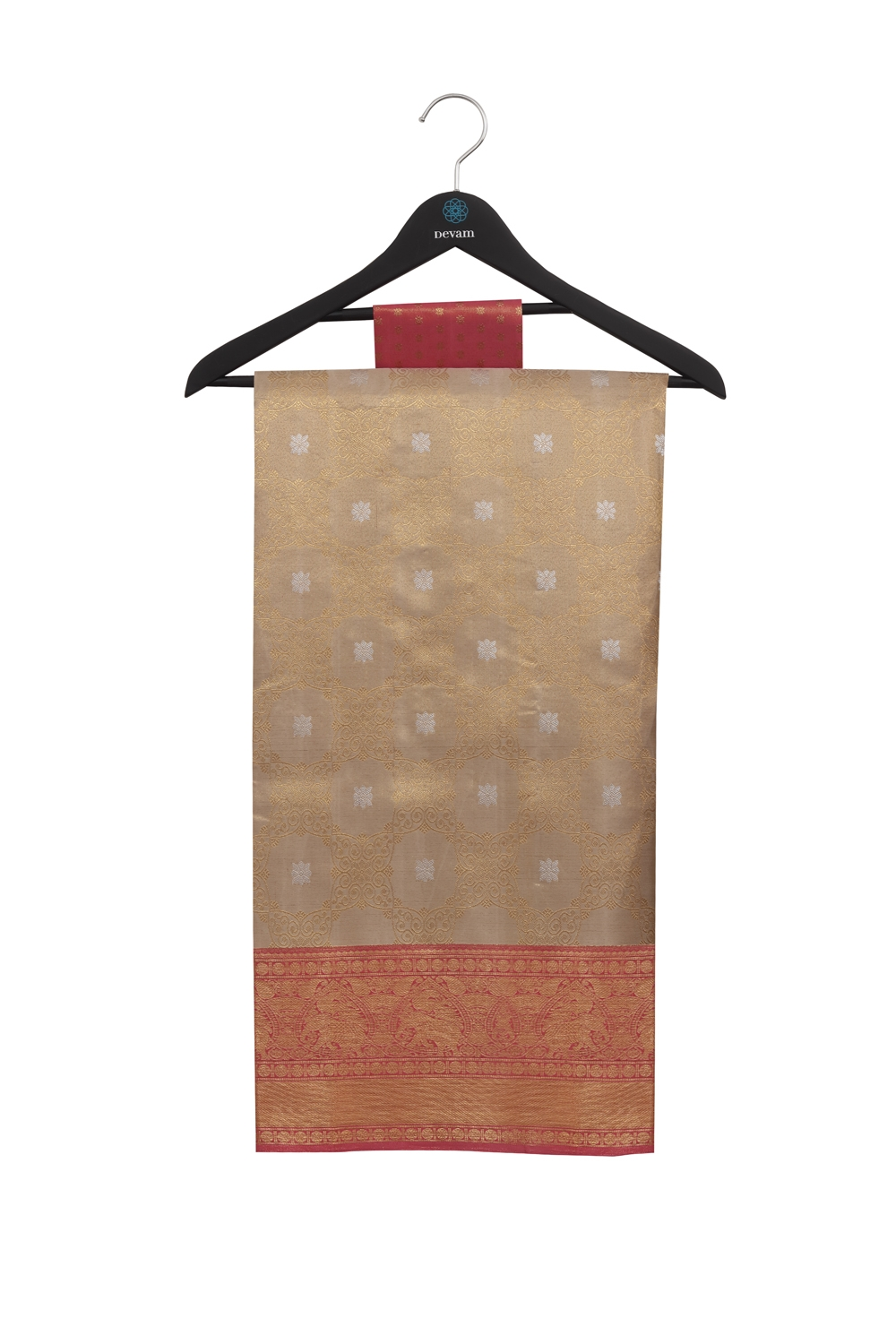 Real Jari Golden Lotus Brocade Silk Kanjeevaram Saree
