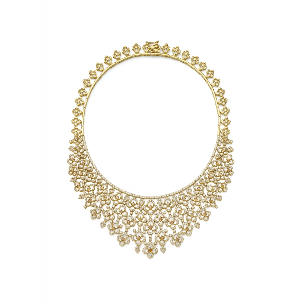 18k Yellow Gold Champagne Diamond Brocade Necklace