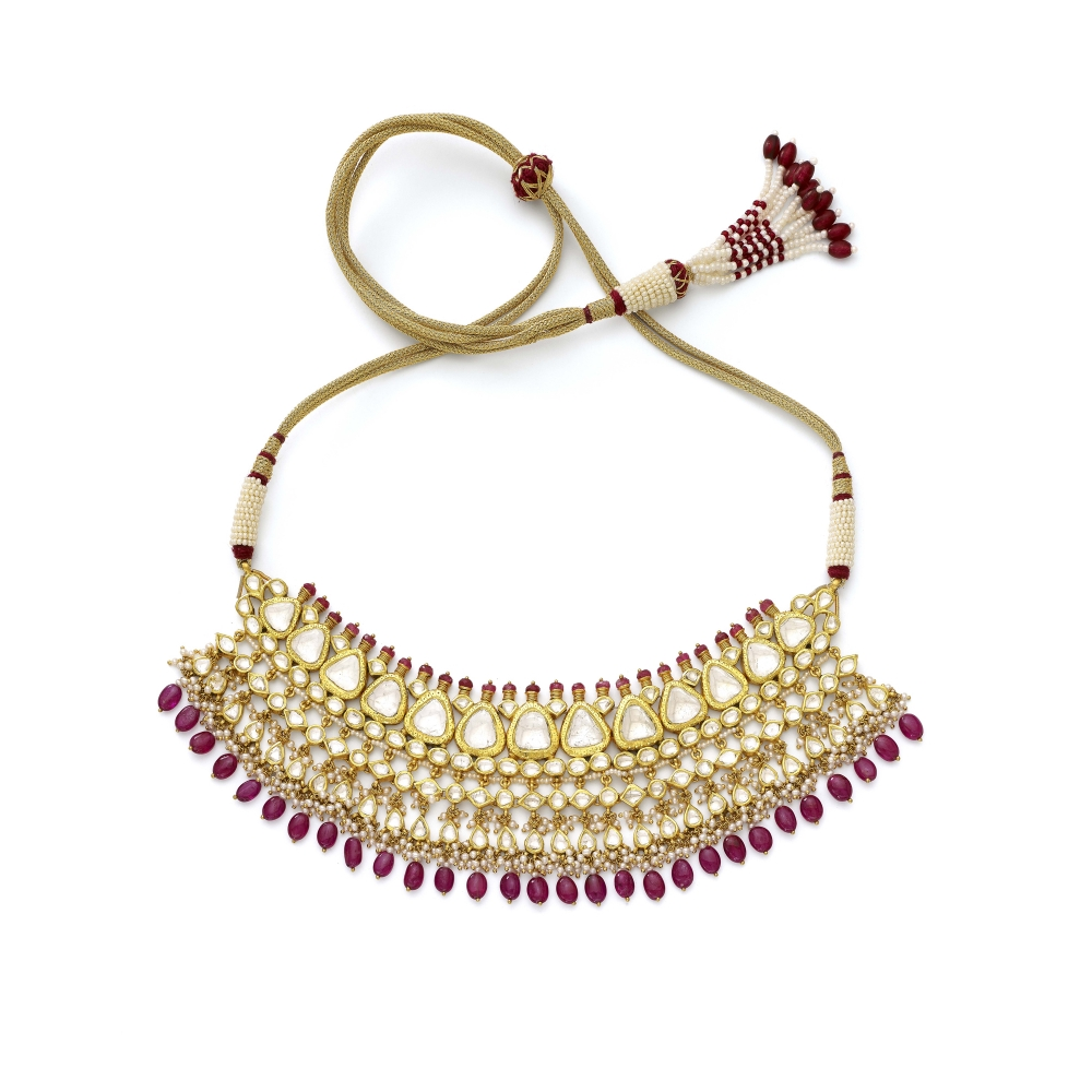 Polki Diamond, Pearl And Ruby 22k Yellow Gold Necklace Set