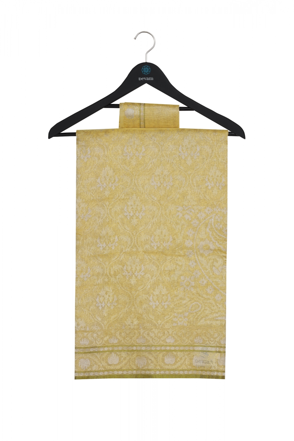 Pale Natural Yellow Real Jari Silk Banarasi
