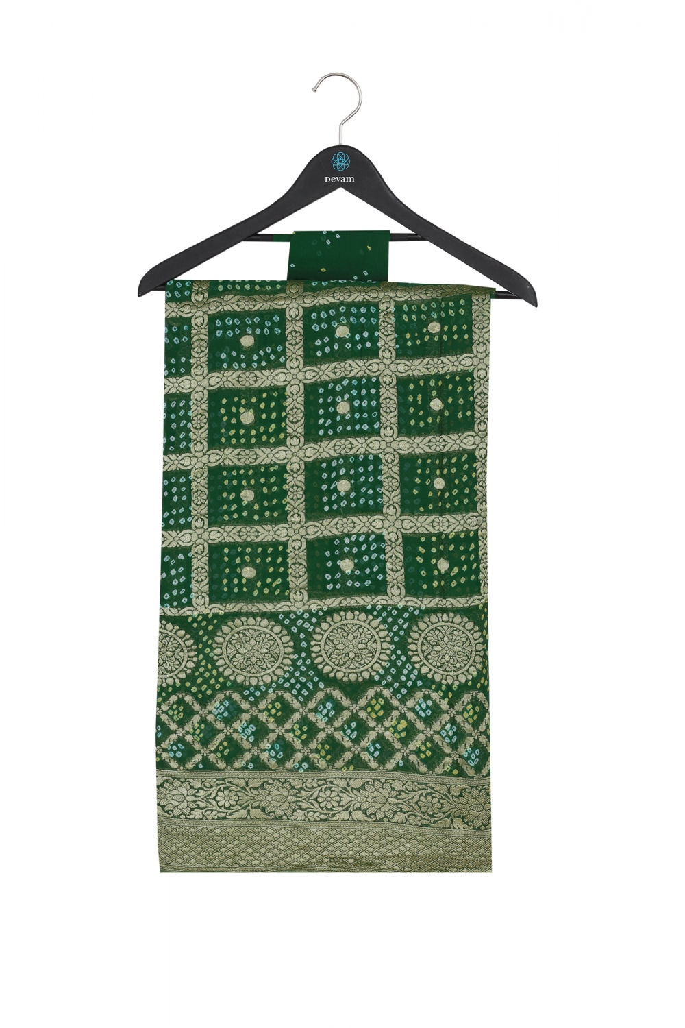 Emerald Green & Gold Checkered Multi Textured Silk Banarasi Saree