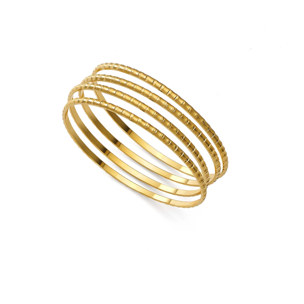 22k Yellow Gold Thin Fluted Bangle Bracelets