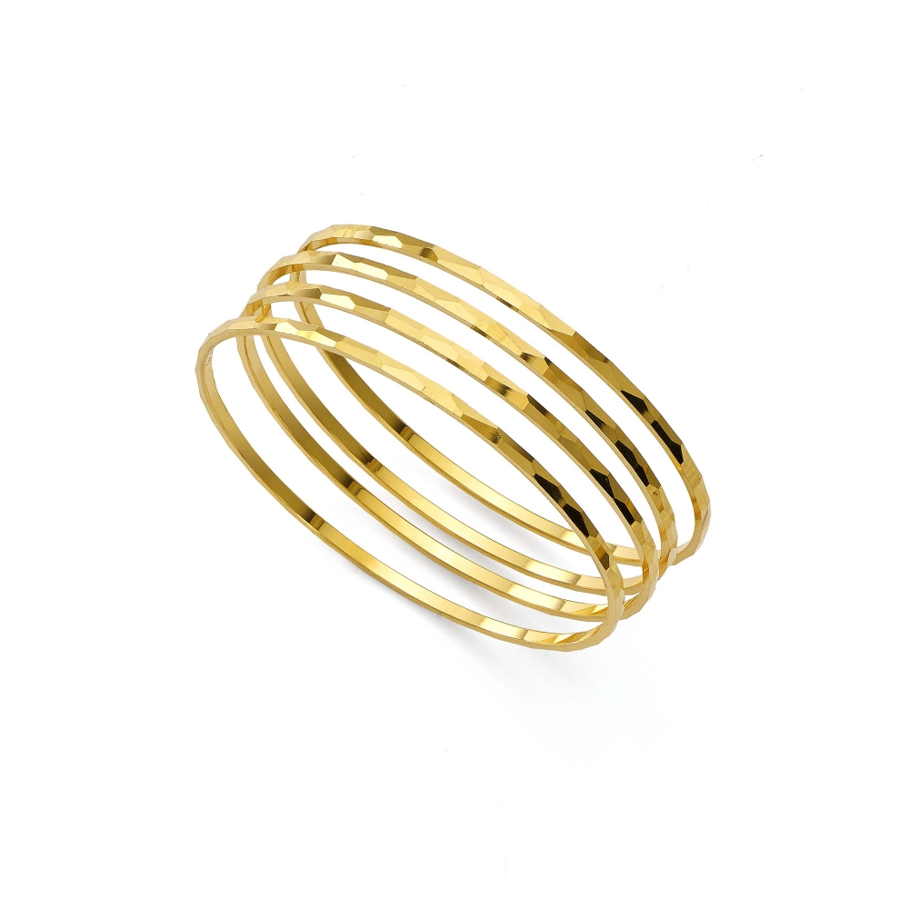 22k Yellow Gold Thin Geometric Bangle Bracelets