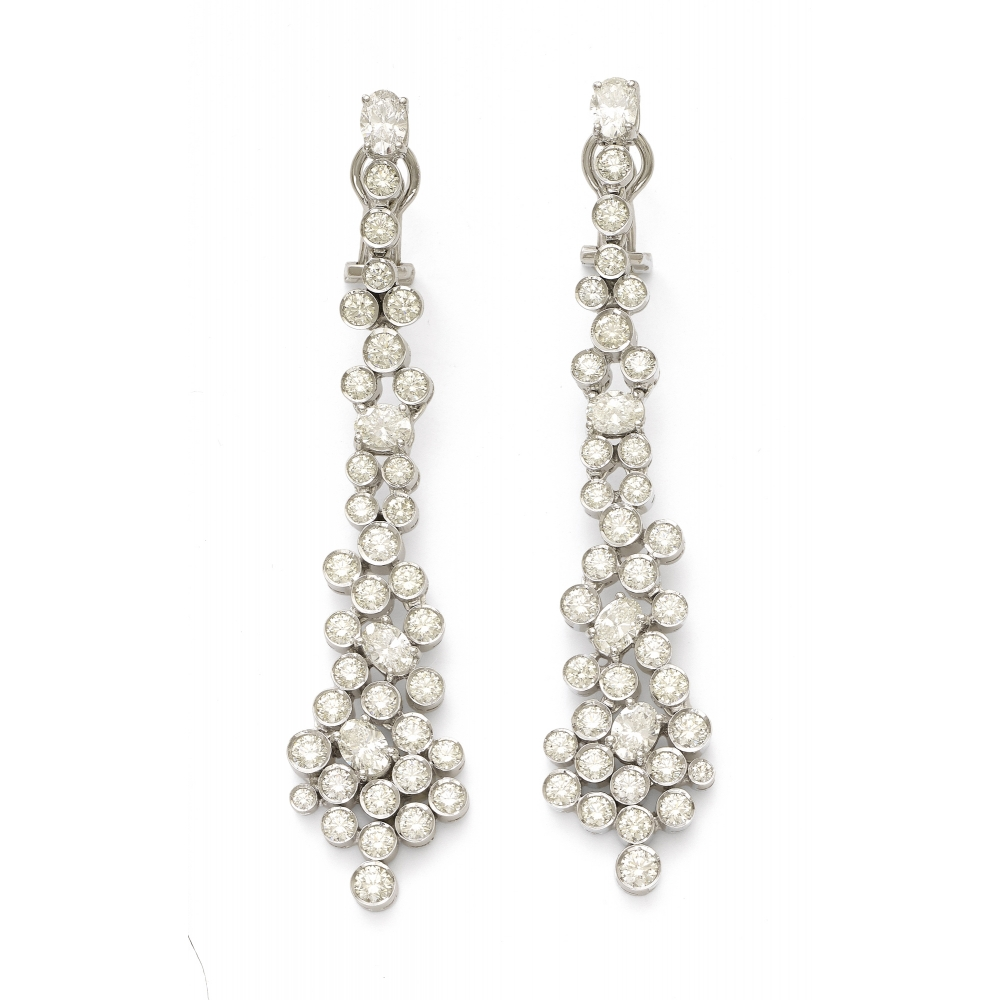 18k White Gold Dangling Jubilee Earrings