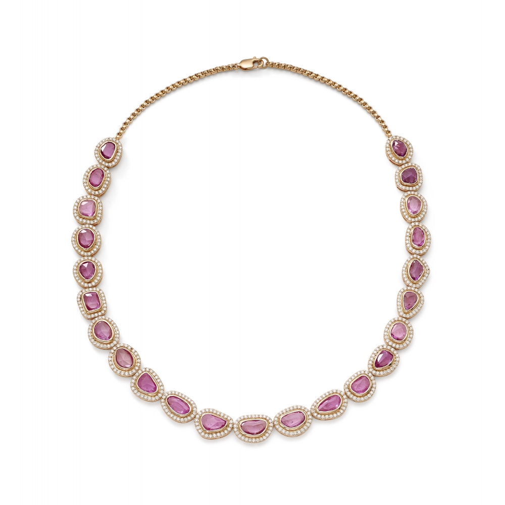 18k Rose Gold Diamond & Pink Sapphire Necklace