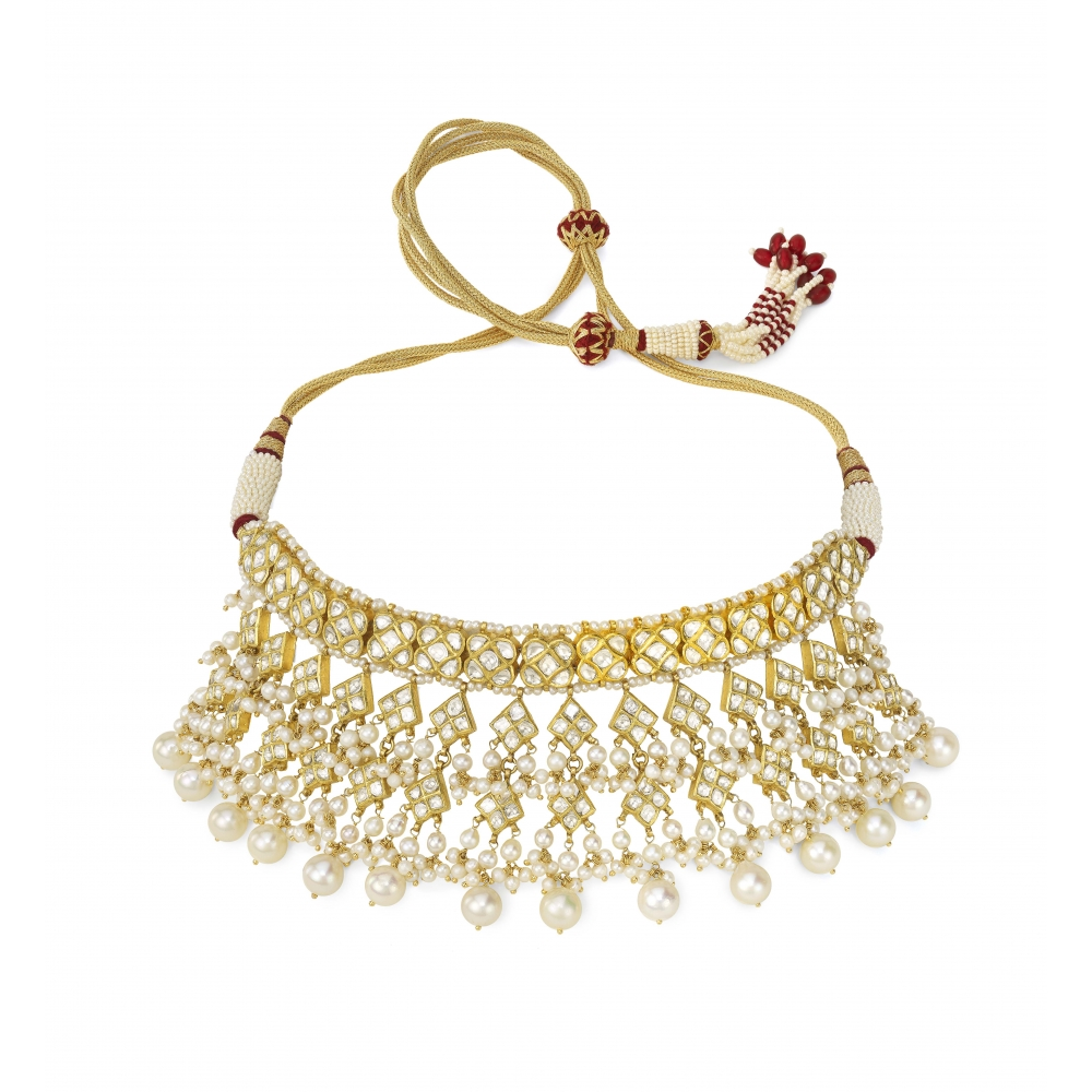 22k Golden Polki Diamond & Pearl Choker Necklace