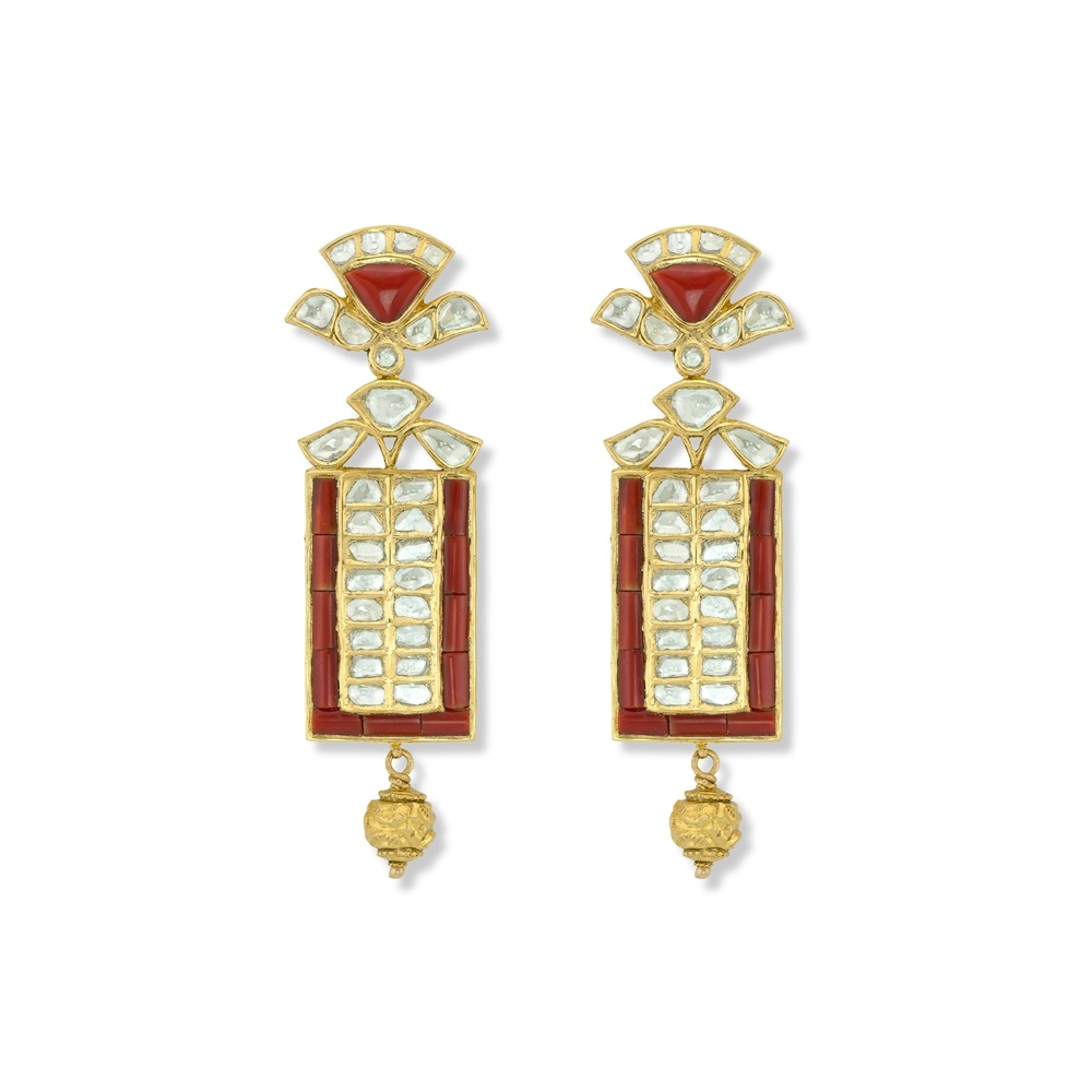Coral & Kundan Earrings