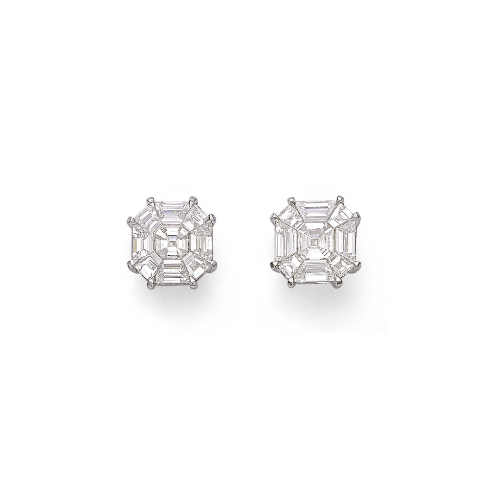Custom Matched Interwoven Diamond Earrings (Ash 3.50Cts)