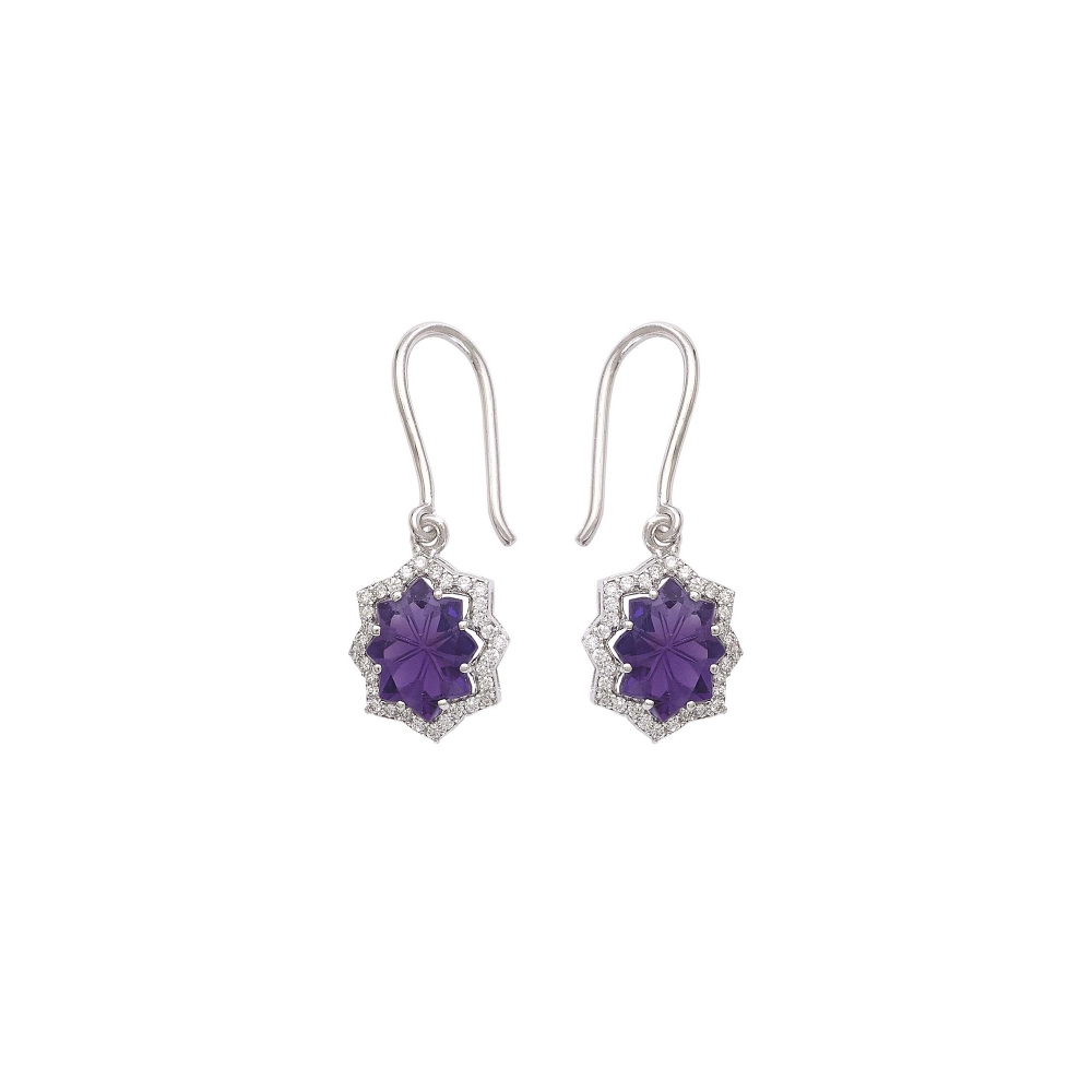18k White Gold Hand Carved Amethyst Diamond Earrings