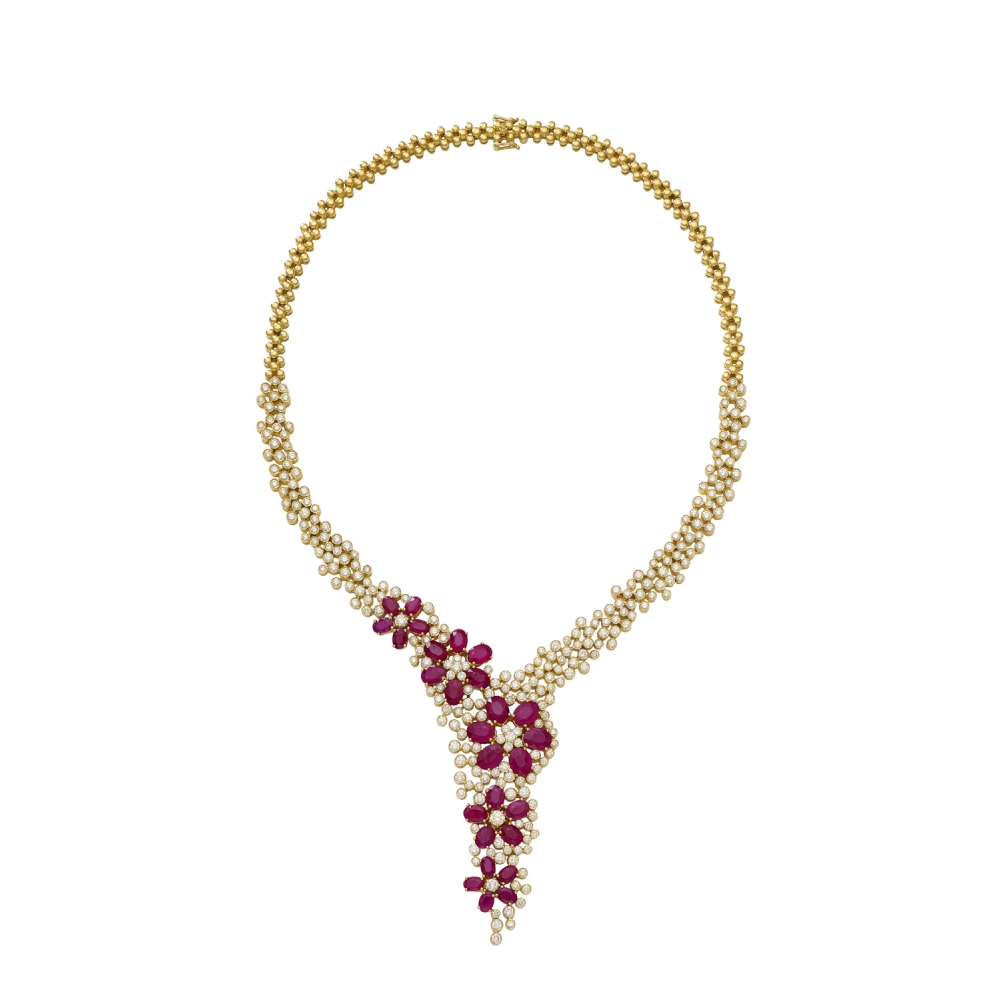 18k Yellow Gold Ruby Blossom & Diamond Necklace