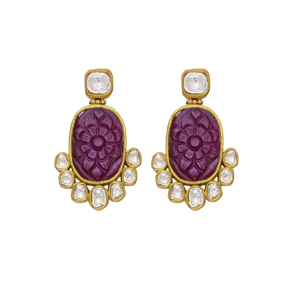 22k Yellow Gold Carved Floral Ruby Polki Diamond Earrings