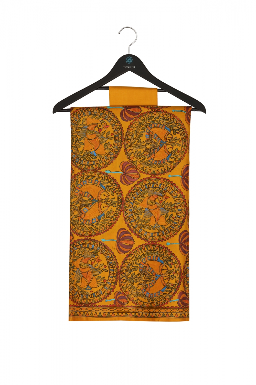 Dusk Orange Madhubani Style Hand Painted Handloom Silk Saree