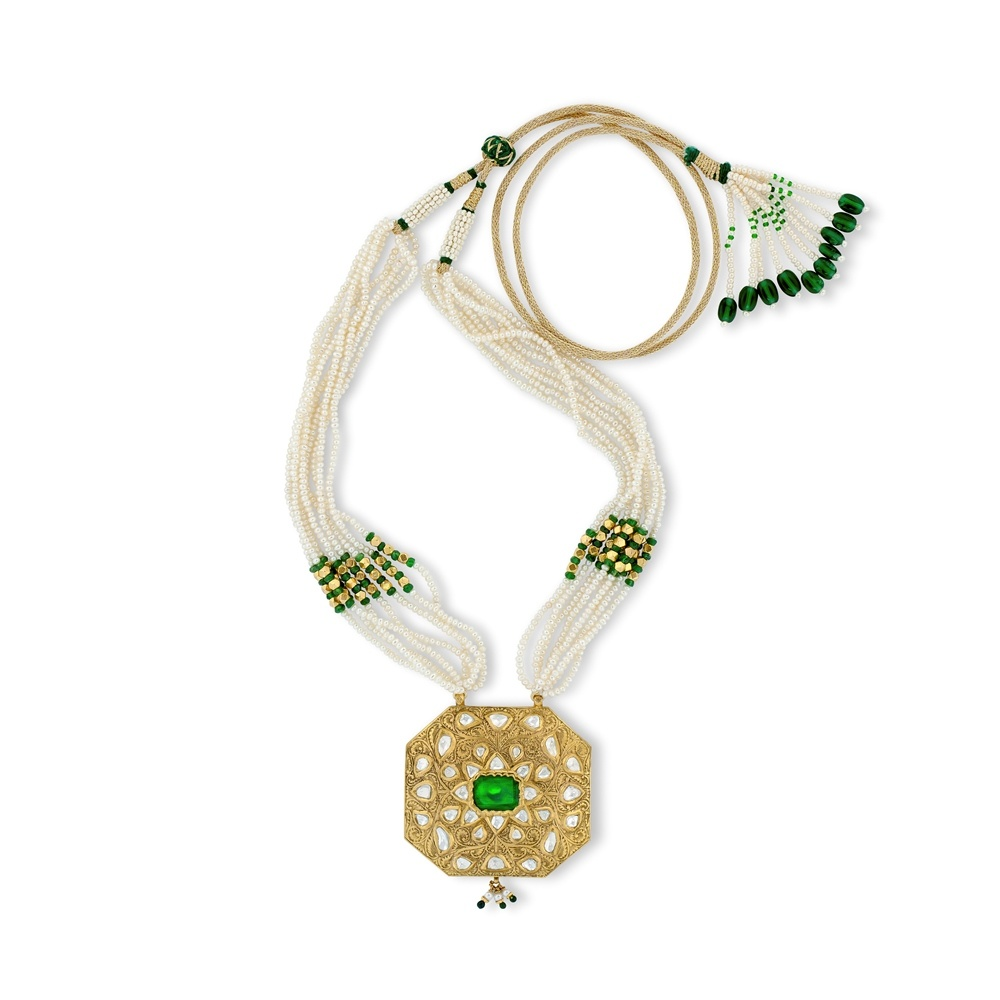 Floral Emerald Necklace Set