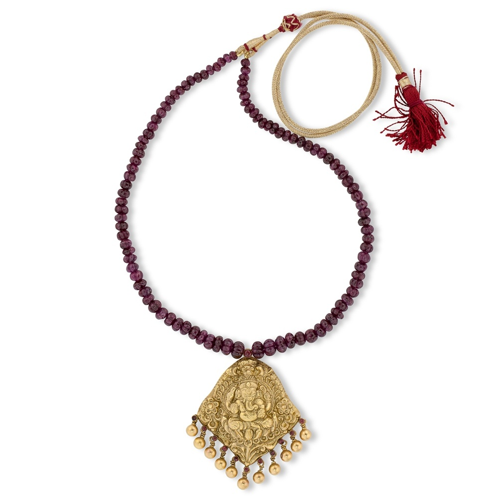 Ganesh Ruby Temple Jewelry Necklace