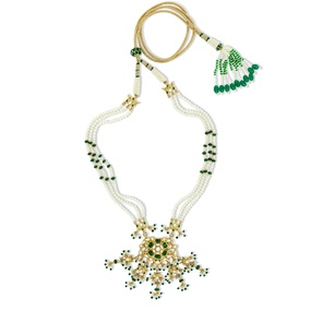 Kundan & Emerald Floral Necklace Set