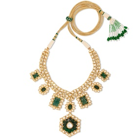 Carved Emerald Necklace Set