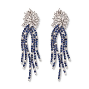 """Cascade of sapphires"" Diamond and Sapphire Earrings"