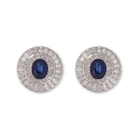 """Water's Essence"" White Gold Diamond Sapphire Earrings"
