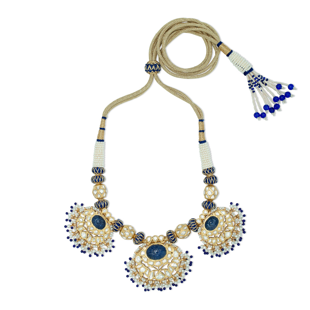 Carved Flower Sapphire Necklace