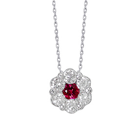 Gentle Flower Ruby Necklace