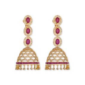 Diamond Arches & Ruby Jhumki