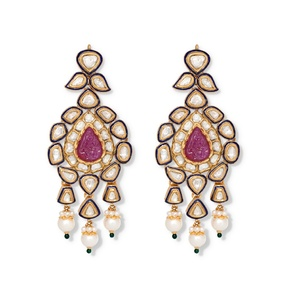 Diamond Ruby Blossom Earrings