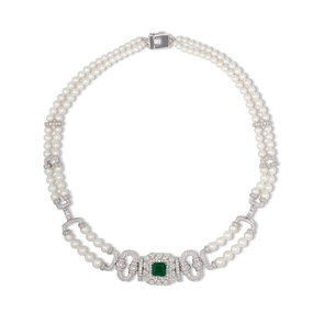 Crown Emerald Pearl Necklace