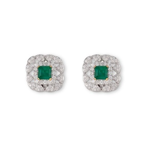 Crown Emerald Pearl Earrings