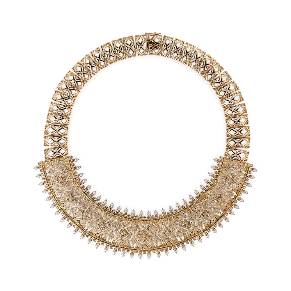Contemporary Diamond & Pearl Necklace
