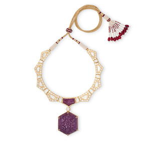 Heaven Carved Ruby Necklace Set